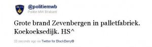 Tweet politie MWB over brand palletfabriek Zevenbergen