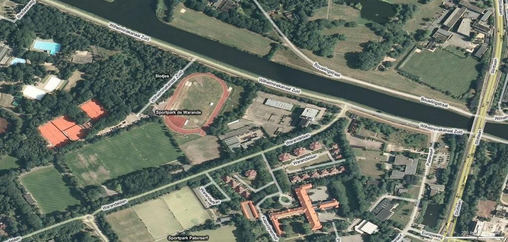 Overzicht van het gebied Warandelaan/Wilhelminakanaal